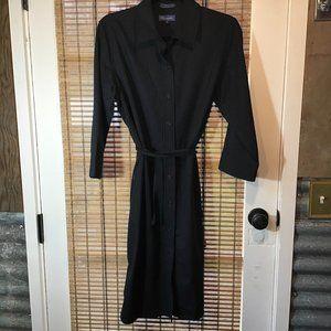 Faconnable black pinstripe belted wool shirt dress